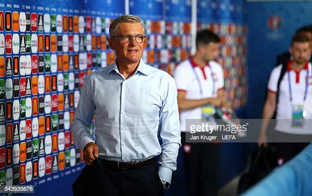 Adam Nawalka head coach of Poland is seen on arrival at the stadium prior to the UEFA EURO 2016 quarter final match between Poland and Portugal at...