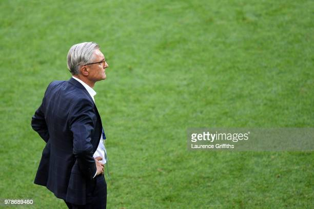 Adam Nawalka Head coach of Poland looks on during the 2018 FIFA World Cup Russia group H match between Poland and Senegal at Spartak Stadium on June...