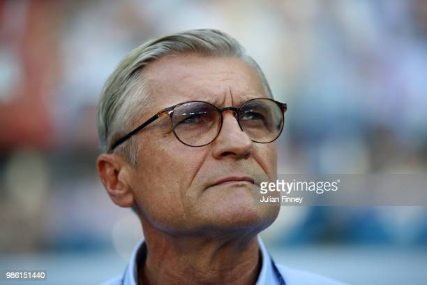 Adam Nawalka Head coach of Poland looks on during the 2018 FIFA World Cup Russia group H match between Japan and Poland at Volgograd Arena on June 28...