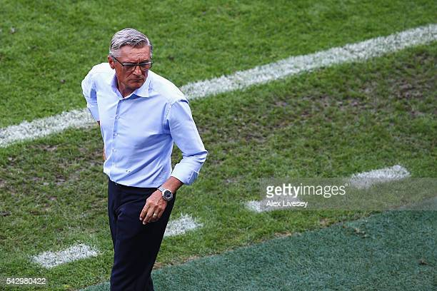 Adam Nawalka head coach of Poland looks on during the UEFA EURO 2016 round of 16 match between Switzerland and Poland at Stade GeoffroyGuichard on...