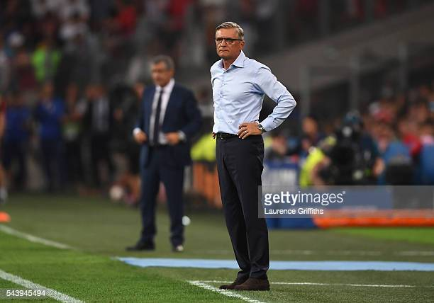 Adam Nawalka head coach of Poland looks on during the UEFA EURO 2016 quarter final match between Poland and Portugal at Stade Velodrome on June 30...