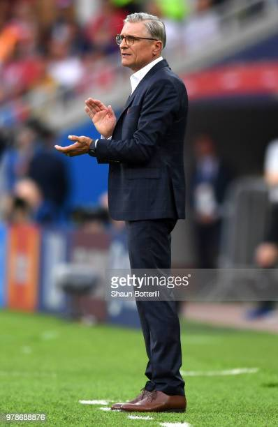 Adam Nawalka Head coach of Poland reacts during the 2018 FIFA World Cup Russia group H match between Poland and Senegal at Spartak Stadium on June 19...
