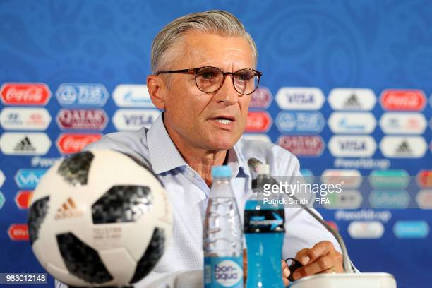 Adam Nawalka Head coach of Poland speaks during the press conference after the 2018 FIFA World Cup Russia group H match between Poland and Colombia...