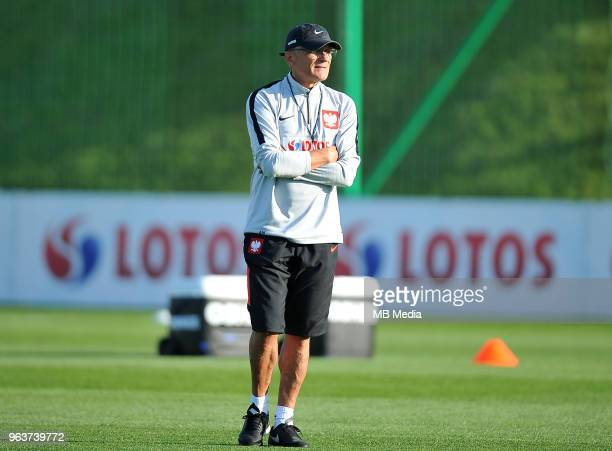 Adam Nawalka Manager of Poland during a training session of the Polish national team at Arlamow Hotel during the second phase of preparation for the...
