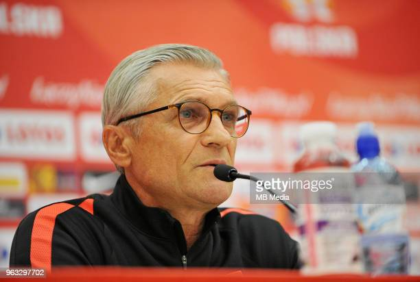 Adam Nawalka Manager of Poland during press conference at Arlamow Hotel during the second phase of preparation for the 2018 FIFA World Cup Russia on...