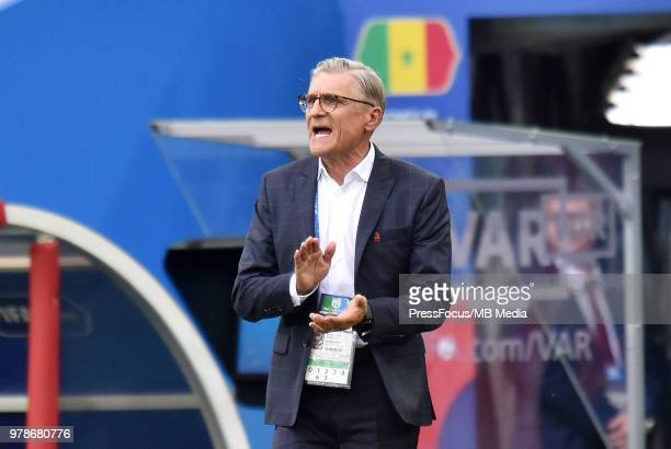 Adam Nawalka Manager of Poland reacts during the 2018 FIFA World Cup Russia group H match between Poland and Senegal at Spartak Stadium on June 19...