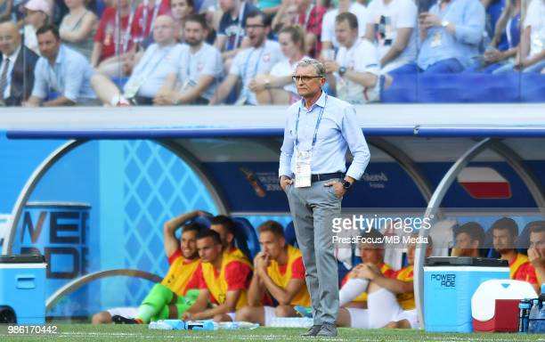 Adam Nawalka Manager of Poland reacts during the 2018 FIFA World Cup Russia group H match between Japan and Poland at Volgograd Arena on June 28 2018...