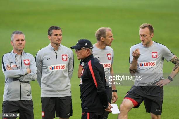 Adam Nawalka Robert Goralczyk Remigiusz Rzepka Bogdan Zajac Marcin Prasol during during training session before friendly match Poland and Chile in...