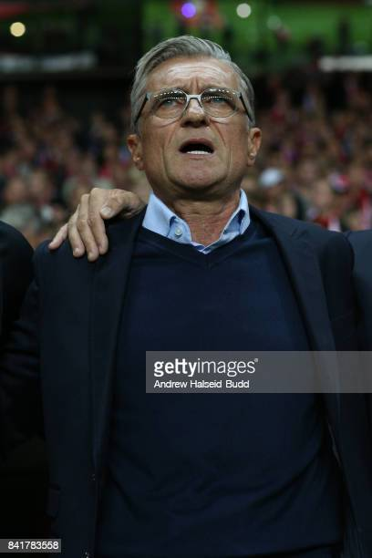 Adam Nawalka the manager of Poland before the FIFA 2018 World Cup Qualifier between Denmark and Poland at Parken Stadion on September 1 2017 in...
