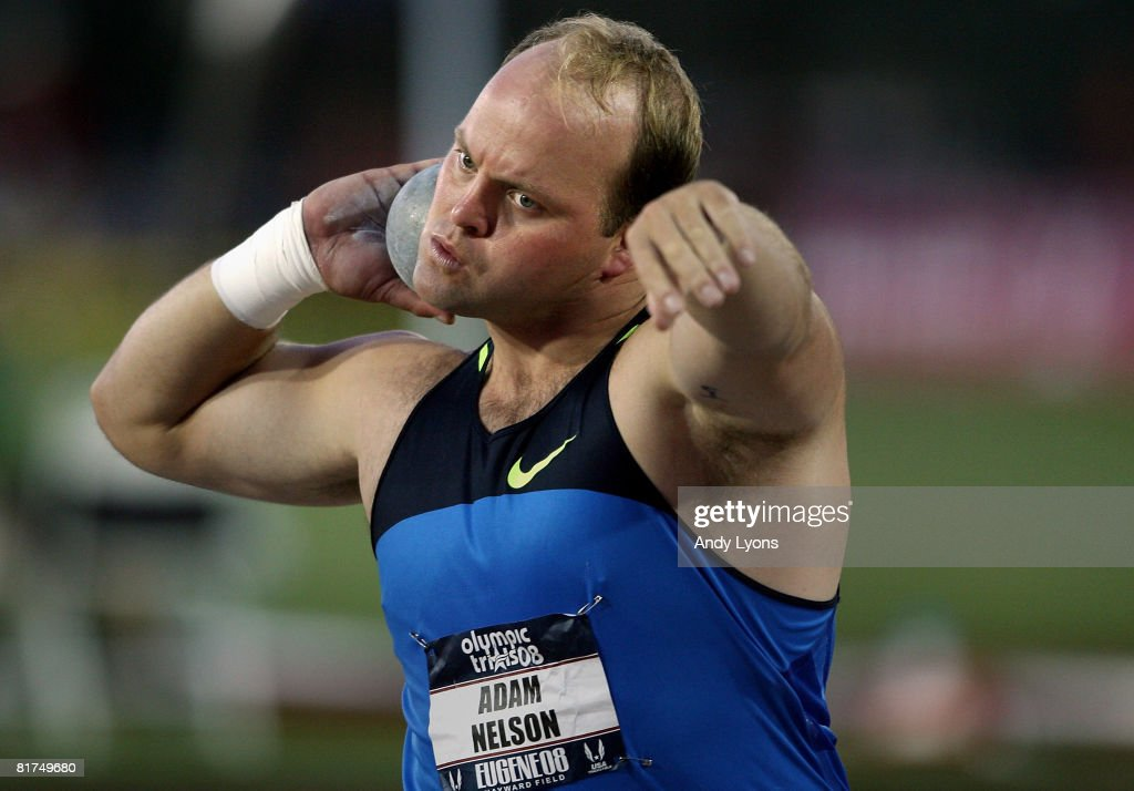 Adam Nelson competes in the men's shot put preliminary round during day one of the U.S. Track and Field Olympic Trials at Hayward Field on June 27, 2008 in Eugene, Oregon.