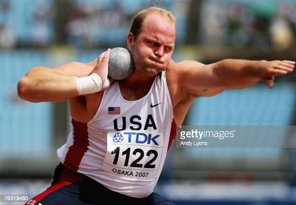 Adam Nelson of the United States of America competes during the Men's Shot Put qualification round on day one of the 11th IAAF World Athletics...