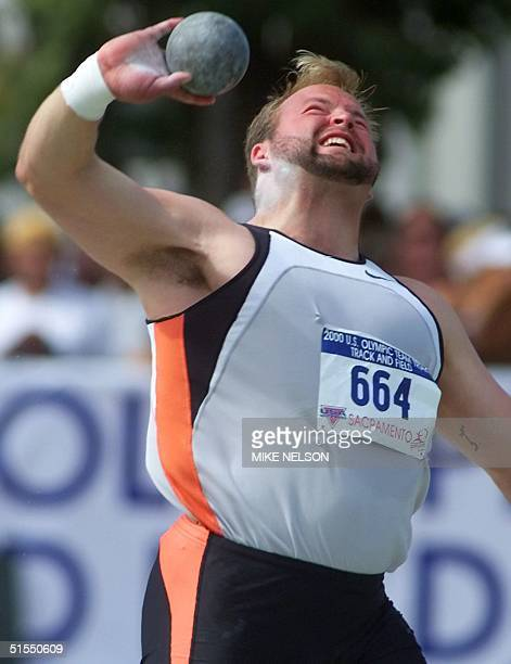 Adam Nelson throws the shot put 15 July 2000 during the 2000 US Olympic Team Trials at Hornet Stadium California State University Sacramento CA...