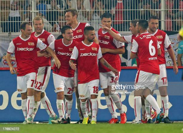 Adam Nemec of Berlin jubilates with team mates after scoring the first goal during the Second Bundesliga match between 1.FC Union Berlin and Fortuna...
