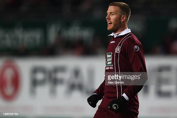 Adam Nemec of Kaiserslautern celebrates his team's first goal during the Bundesliga match between 1 FC Kaiserslautern and Hannover 96 at FritzWalter...