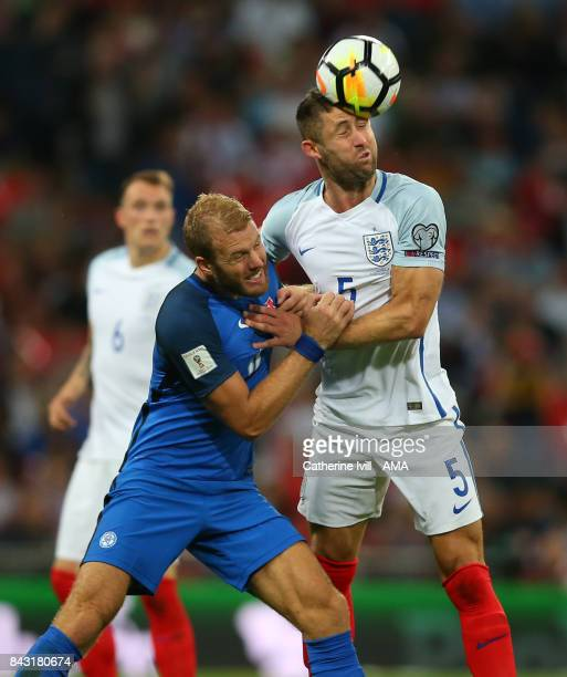 Adam Nemec of Slovakia and Gary Cahill of England during the FIFA 2018 World Cup Qualifier between England and Slovakia at Wembley Stadium on...