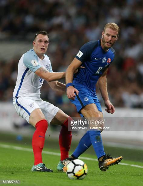 Adam Nemec of Slovakia and Phil Jones of England during the FIFA 2018 World Cup Qualifier between England and Slovakia at Wembley Stadium on...