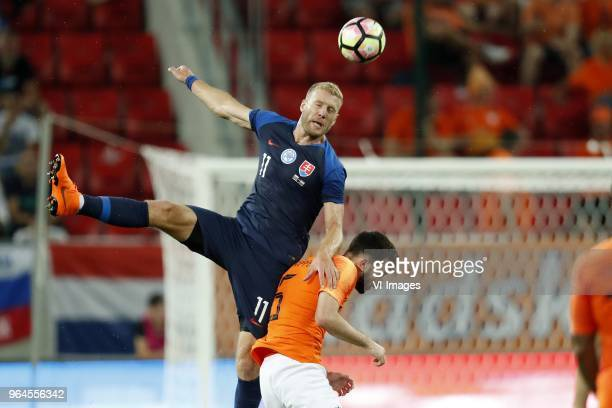 Adam Nemec of Slovakia Davy Propper of Holland during the International friendly match between Slovakia and The Netherlands at Stadium Antona...