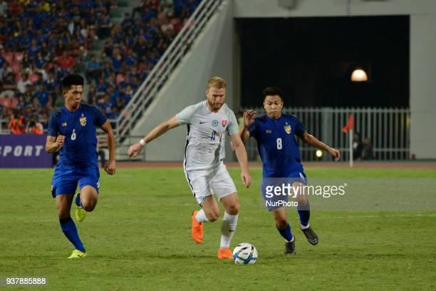 Adam Nemec of Slovakia for the ball during their King Cup 46th soccer final match at Rajamangala national stadium in Bangkok Thailand Bangkok...