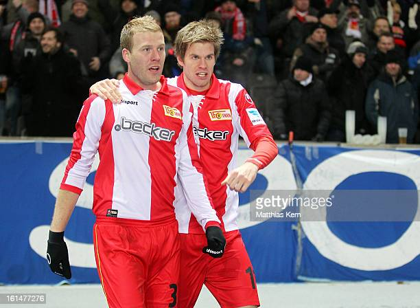 Adam Nemec of Union Jubilates with team mate Simon Terodde after scoring the second goal during the Second Bundesliga match between Hertha BSC Berlin...