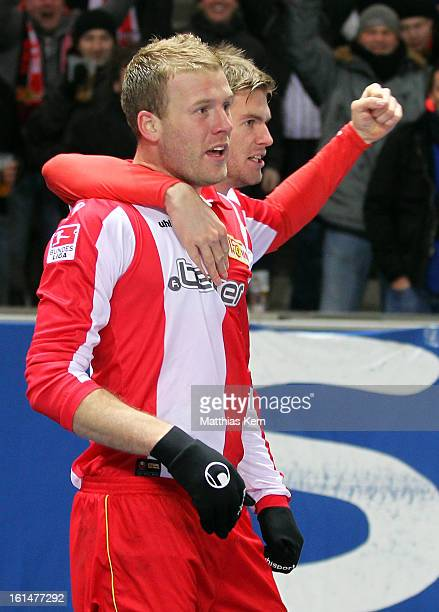 Adam Nemec of Union Jubilates with team mate Simon Terodde after scoring the second goal during the Second Bundesliga match between Hertha BSC Berlin...