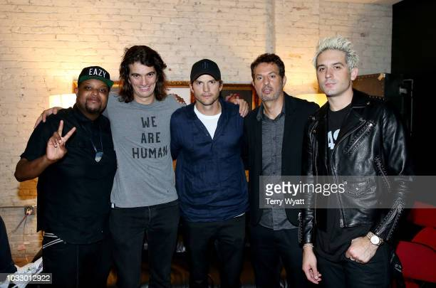 Adam Neumann CEO of WeWork, Ashton Kutcher and Guy Oseary and G-Eazy take photos backstage during Nashville Creator Awards hosted by WeWork at...