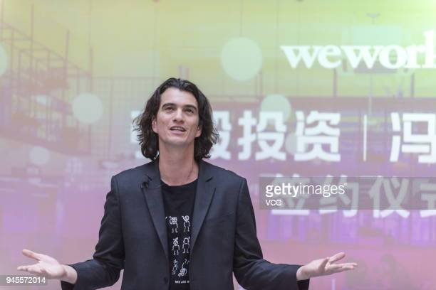 Adam Neumann cofounder and chief executive officer of WeWork speaks during a signing ceremony at WeWork Weihai Road flagship on April 12 2018 in...
