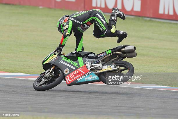 Adam Norrodin of Malaysia and Drive M7 SIC Racing Team crashed out during the Moto3 Race during the MotoGp of Argentina Race at Termas De Rio Hondo...