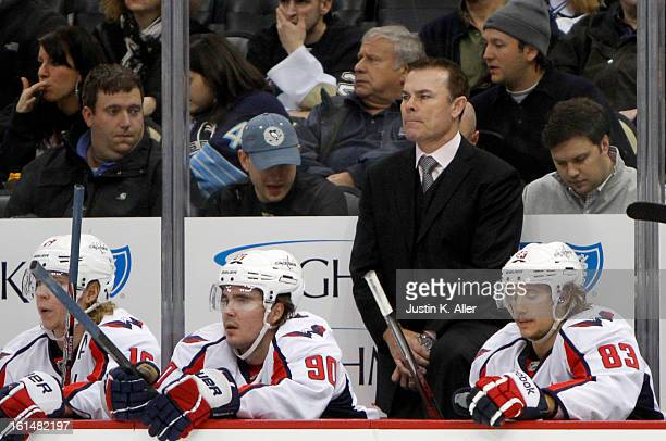 Adam Oates of the Washington Capitals coaches against the Pittsburgh Penguins during the game at Consol Energy Center on February 7 2013 in...