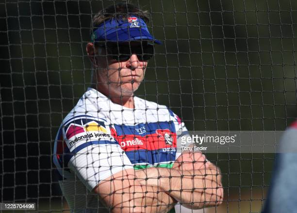 Adam O'Brien coach of the Newcastle Knights during a Newcastle Knights NRL training session at Wests Mayfield on May 19, 2020 in Newcastle, Australia.