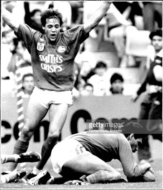 Adam O'Neil Canterbury Verses Souths at Sports StadiumLong bottom try April 17 1988