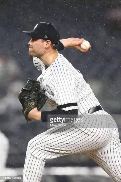 Adam Ottavino of the New York Yankees in action against the Kansas City Royals at Yankee Stadium on April 19 2019 in New York City New York Yankees...