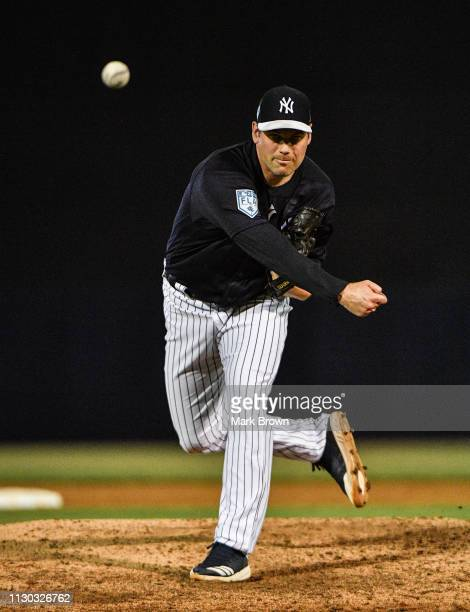 Adam Ottavino of the New York Yankees pitches in the fifth inning during the spring training game against the Philadelphia Phillies at Steinbrenner...