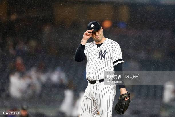 Adam Ottavino of the New York Yankees reacts in the top of the seventh inning against the Kansas City Royals at Yankee Stadium on April 19 2019 in...