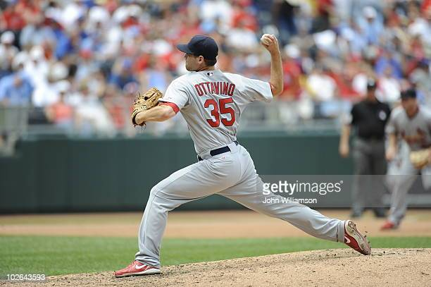 Adam Ottavino of the St Louis Cardinals pitches during the game against the Kansas City Royals at Kauffman Stadium on June 27 2010 in Kansas City...