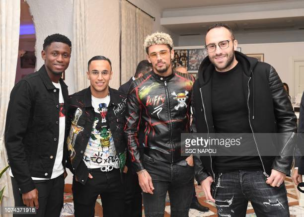 Adam Ounas Amadou Diawara David Ospina and Malcuit Kevin attend the SSC Napoli Xmas Dinner on December 18 2018 in Naples Italy