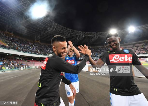 Adam Ounas Amadou Diawara during the Serie A match between SSC Napoli and US Sassuolo at Stadio San Paolo on October 7 2018 in Naples Italy