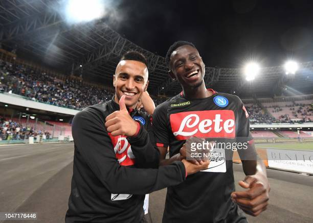 Adam Ounas Amadu Diawara during the Serie A match between SSC Napoli and US Sassuolo at Stadio San Paolo on October 7 2018 in Naples Italy