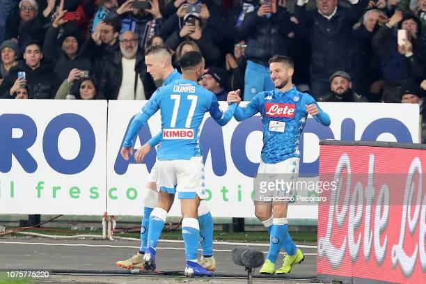 Adam Ounas and Dries Mertens of SSC Napoli celebrate the 32 goal scored by Dries Mertens during the Serie A match between SSC Napoli and Bologna FC...