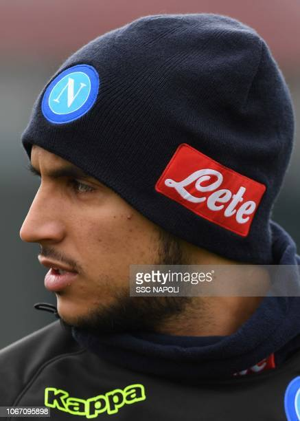 Adam Ounas during an SSC Napoli training session on December 1 2018 in Naples Italy
