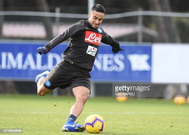 Adam Ounas during an SSC Napoli Training Session on January 10 2019 in Naples Italy
