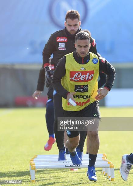 Adam Ounas during an SSC Napoli Training Session on January 18 2019 in Naples Italy