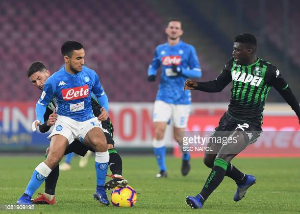 Adam Ounas during the Coppa Italia match between SSC Napoli and US Sassuolo at Stadio San Paolo on January 13 2019 in Naples Italy