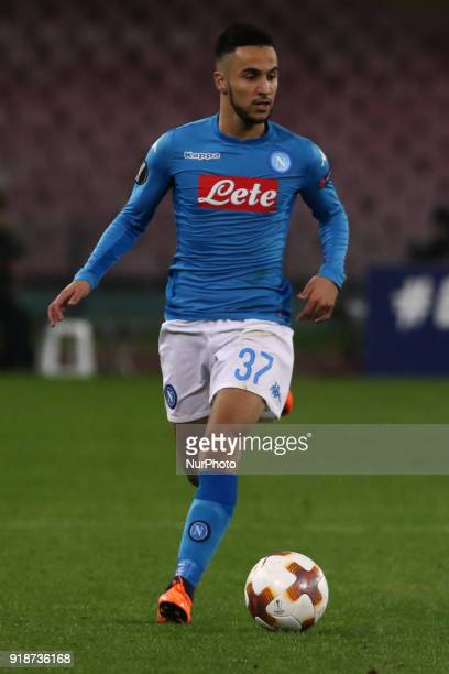 Adam Ounas during the Europe Ligue football SSC Napoli v RB Leipzing at S Paolo Stadium in Naples on February 15 2018