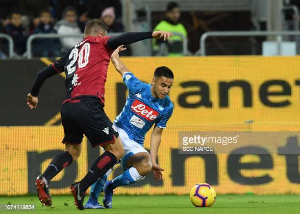 Adam Ounas during the Serie A match between Cagliari and SSC Napoli at Sardegna Arena on December 16 2018 in Cagliari Italy