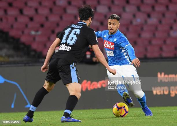 Adam Ounas during the Serie A match between SSC Napoli and SS Lazio at Stadio San Paolo on January 20 2019 in Naples Italy