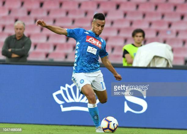 Adam Ounas during the Serie A match between SSC Napoli and US Sassuolo at Stadio San Paolo on October 7 2018 in Naples Italy