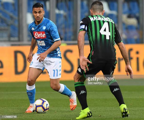 Adam Ounas during the Serie A match between US Sassuolo and SSC Napoli at Mapei Stadium Citta' del Tricolore on March 10 2019 in Reggio nell'Emilia...