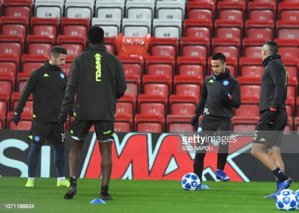 Adam Ounas during the SSC Napoli Training Session on December 10 2018 in Liverpool United Kingdom