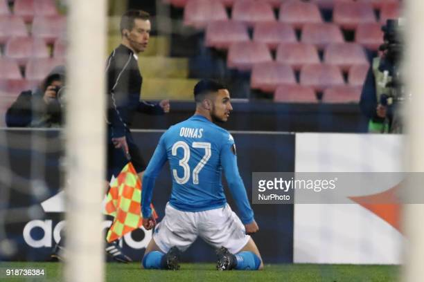 Adam Ounas exultation after goal during the Europe Ligue football SSC Napoli v RB Leipzing at S Paolo Stadium in Naples on February 15 2018