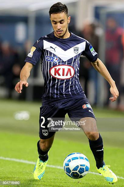 Adam Ounas for Bordeaux in action during the French League Cup quarter final between Bordeaux and Lorient at Stade Matmut Atlantique on January 12...